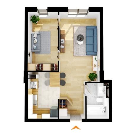 Apartamente 1 camera cu CF în blocul A