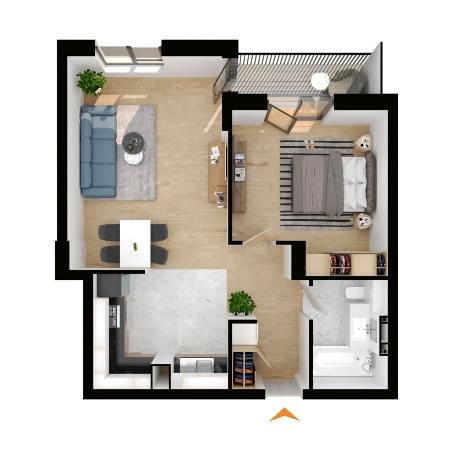Apartamente 2 camere cu CF în blocul A