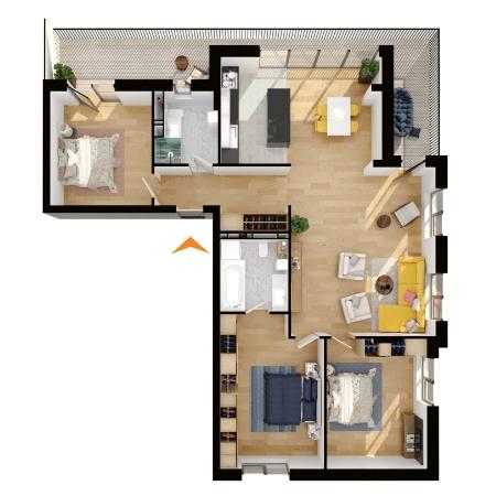 Apartamente 4 camere cu CF în blocul A