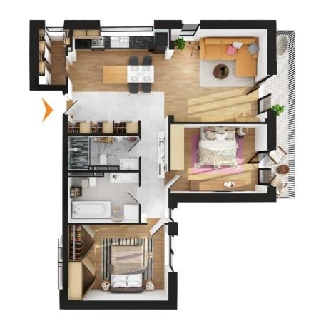 Apartamente 3 camere în imobil G