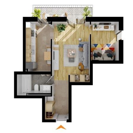 Apartamente 1 cameră în imobil H